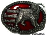 English Springer Spaniel Belt Buckle + display stand. Code BJ3